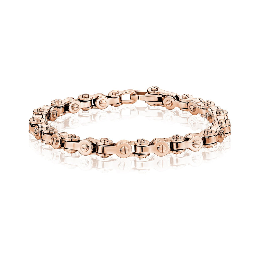 Mens Steel Bracelets - Modern Stainless Steel Rose Gold Bicycle Chain Bracelet