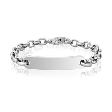 Mens Steel Bracelets - Stainless Steel Oval Link ID Bracelet - Engravable
