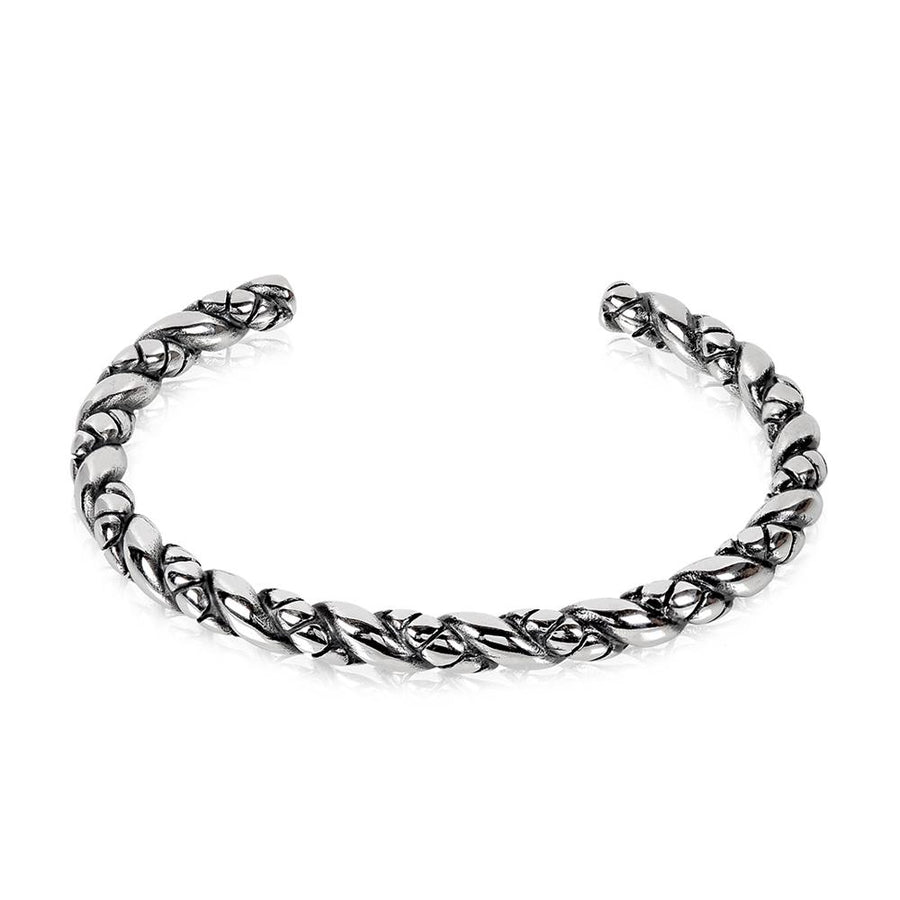 Mens Steel Bracelets - Twisted Stainless Steel Cuff Bangle