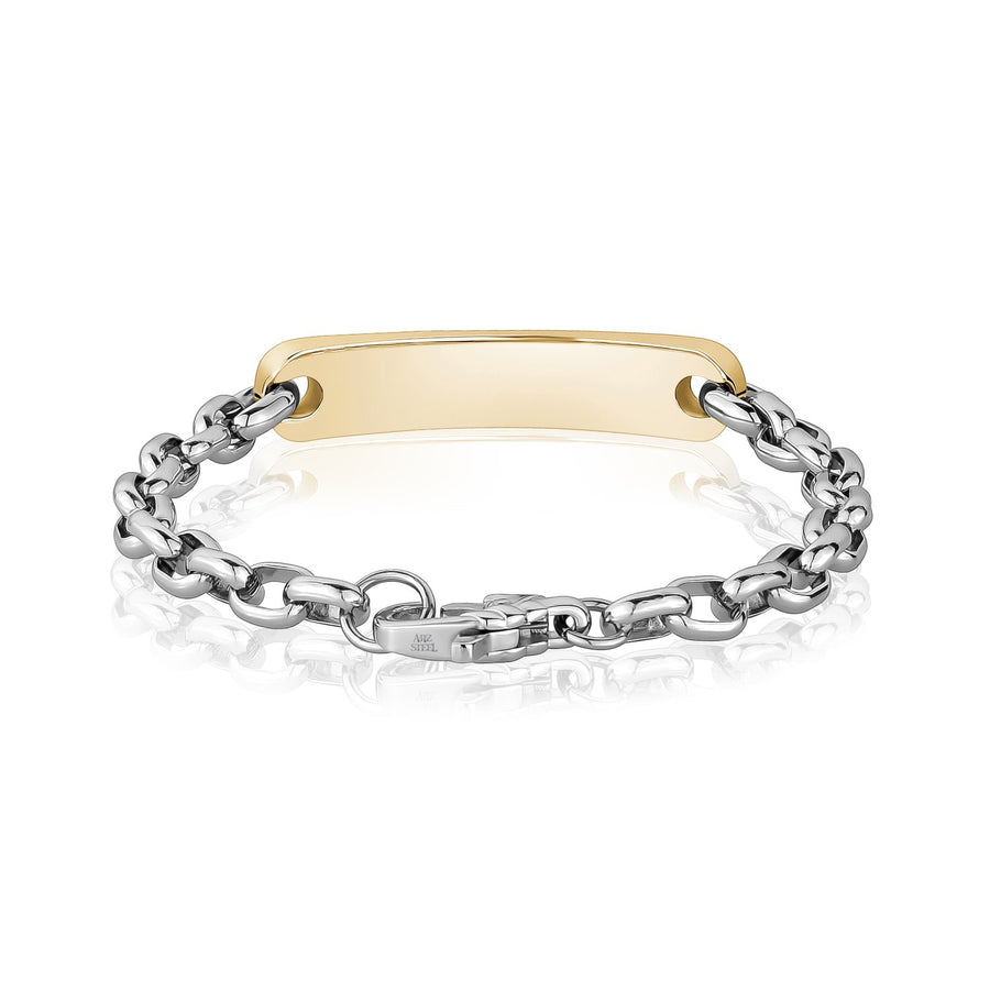 Mens Steel Bracelets - Two Tone Gold & Steel Oval Link ID Bracelet - Engravable