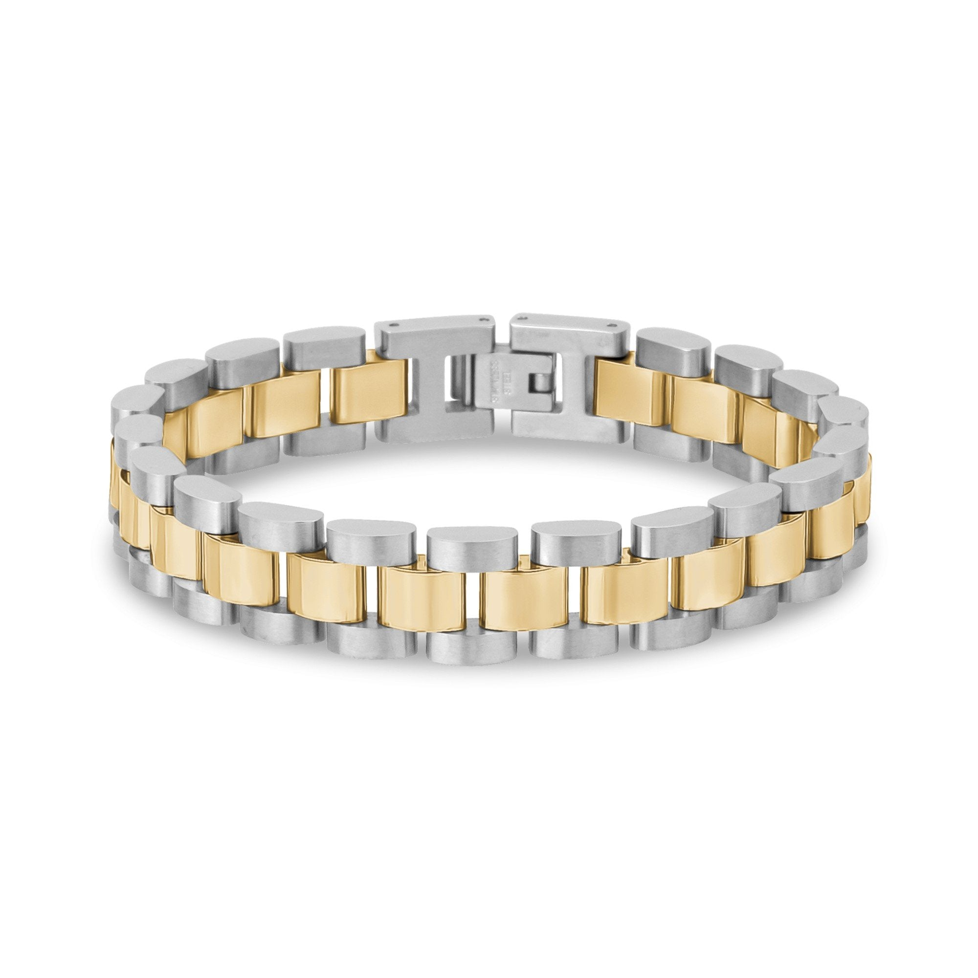 Mens Steel Bracelets - Two Tone Stainless Steel Watch Link Bracelet