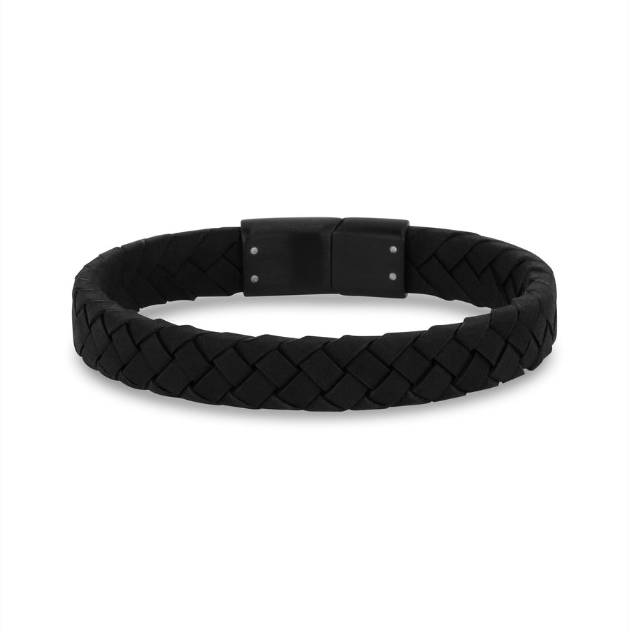 Mens Steel Leather Bracelets - 10mm Flat Italian Black Leather Engravable Bracelet