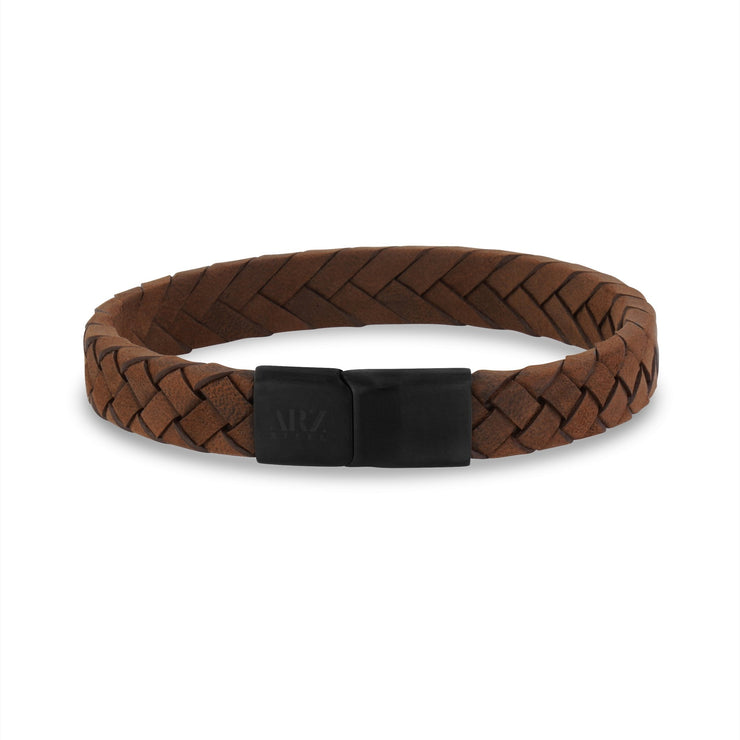 Mens Steel Leather Bracelets - 10mm Flat Italian Brown Leather Engravable Bracelet