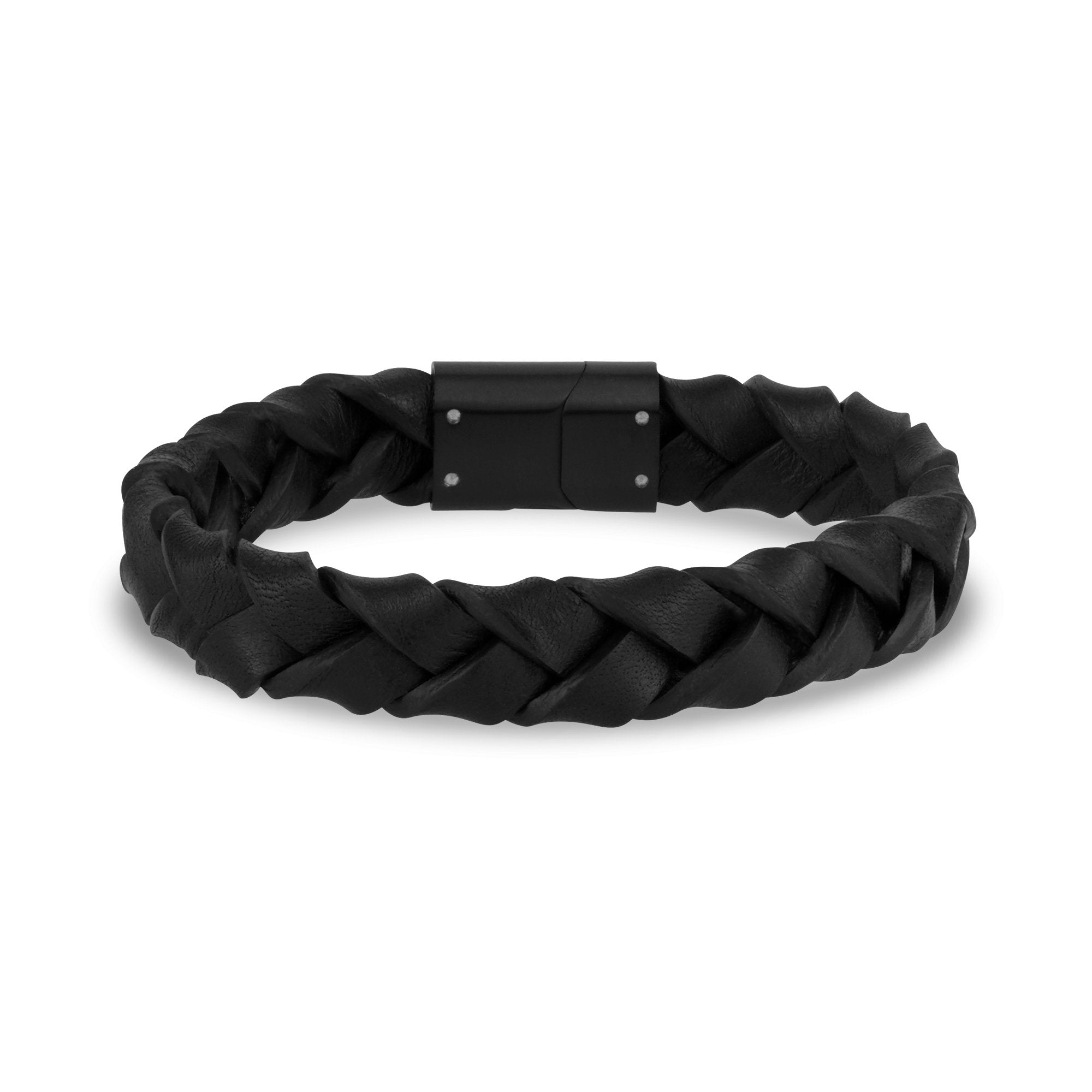 Mens Steel Leather Bracelets - 11mm Woven Black Leather Steel Clasp Engravable Bracelet