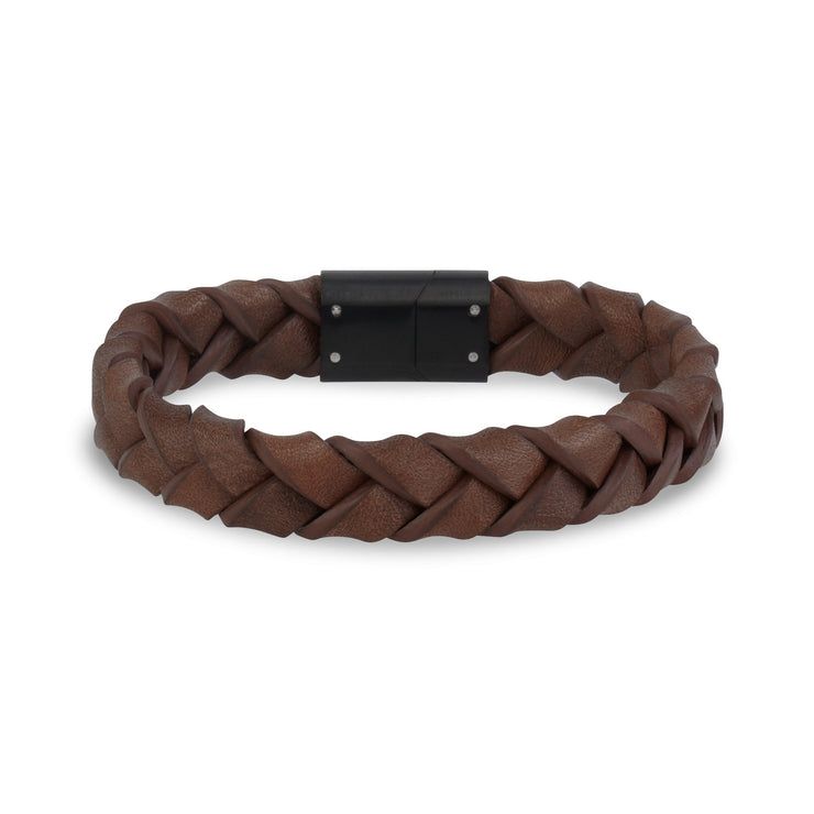 Mens Steel Leather Bracelets - 11mm Woven Brown Leather Steel Clasp Engravable Bracelet