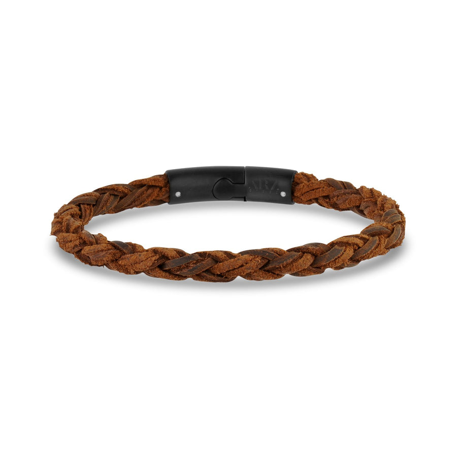 5mm Suede Leather Black Steel Clasp Engravable Bracelet