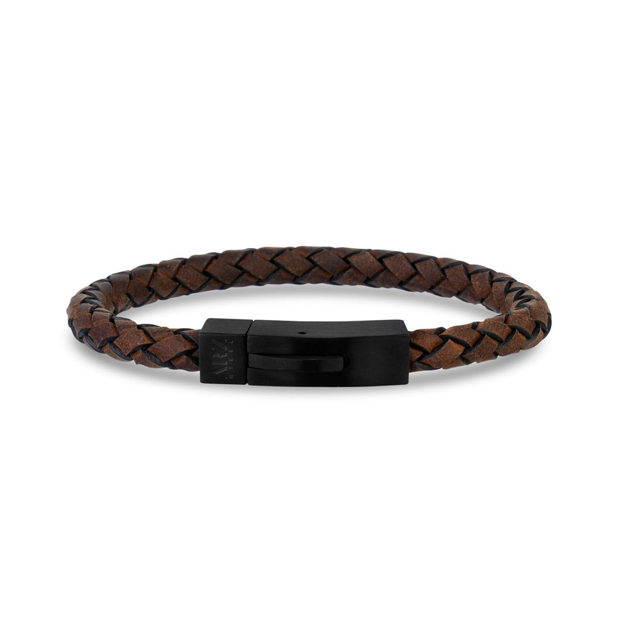 Mens Steel Leather Bracelets - Brown Leather Black Matte Steel Clasp Bracelet - Engravable