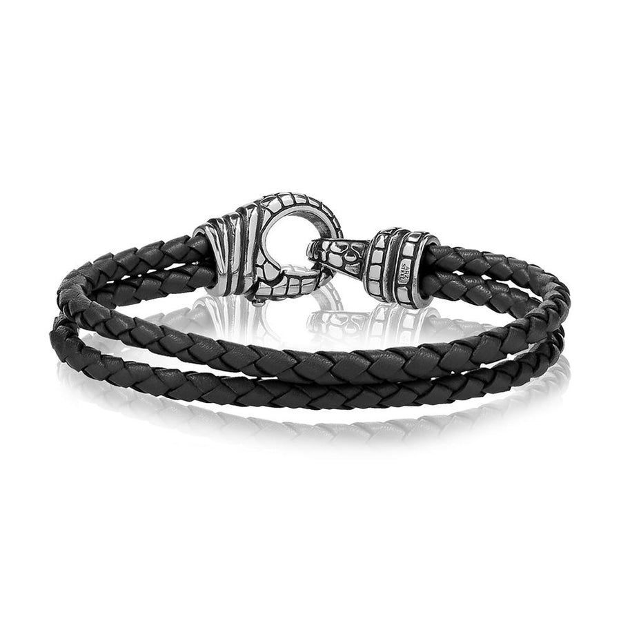 Mens Steel Leather Bracelets - Double Row Black Leather Steel Bracelet
