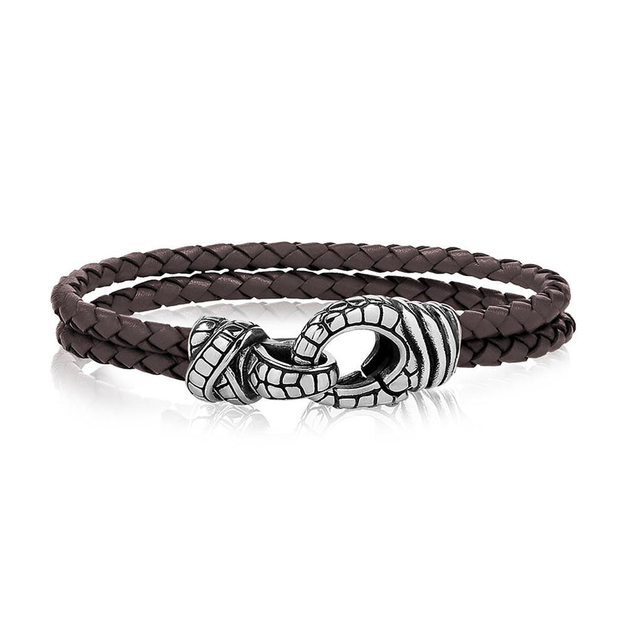 Mens Steel Leather Bracelets - Double Row Brown Leather Detailed Steel Clasp Bracelet