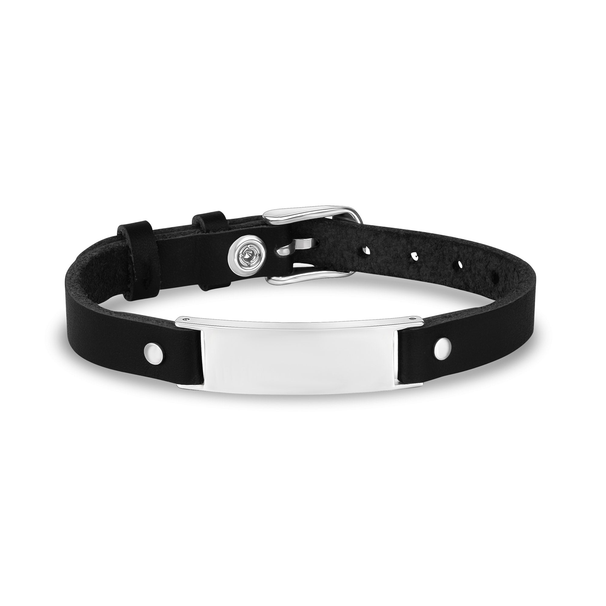 Mens Steel Leather Bracelets - Engravable Stainless Steel Black Leather ID Bracelet