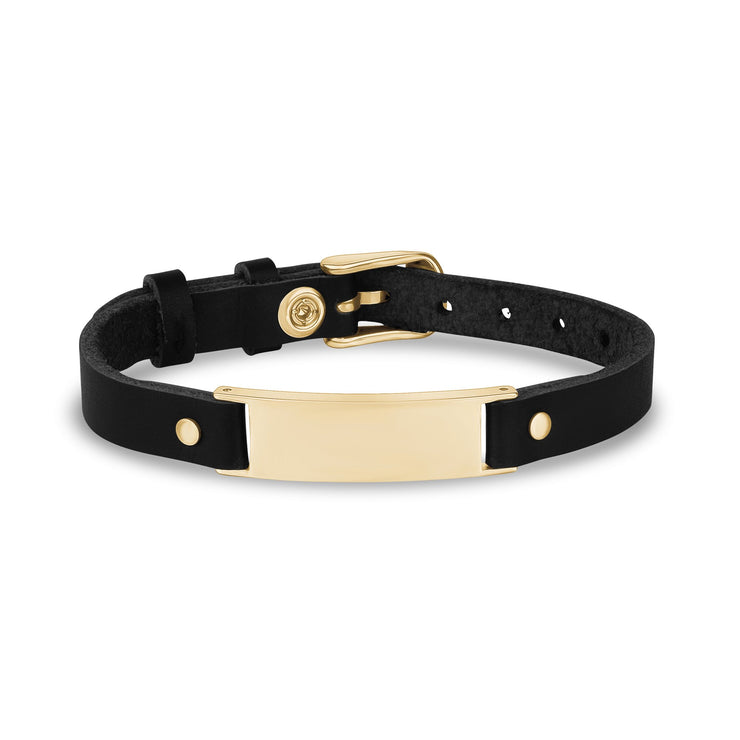 Mens Steel Leather Bracelets - Engravable Gold Stainless Steel Black Leather ID Bracelet