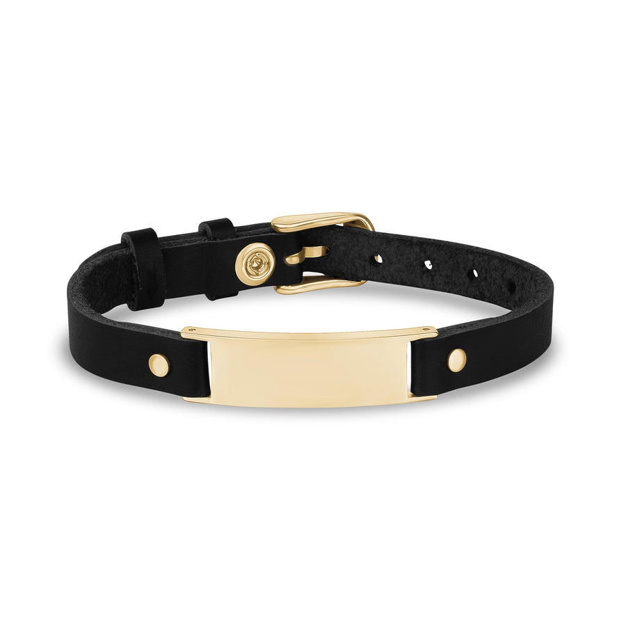Mens Steel Leather Bracelets - Engravable Stainless Steel Black Leather Gold ID Bracelet