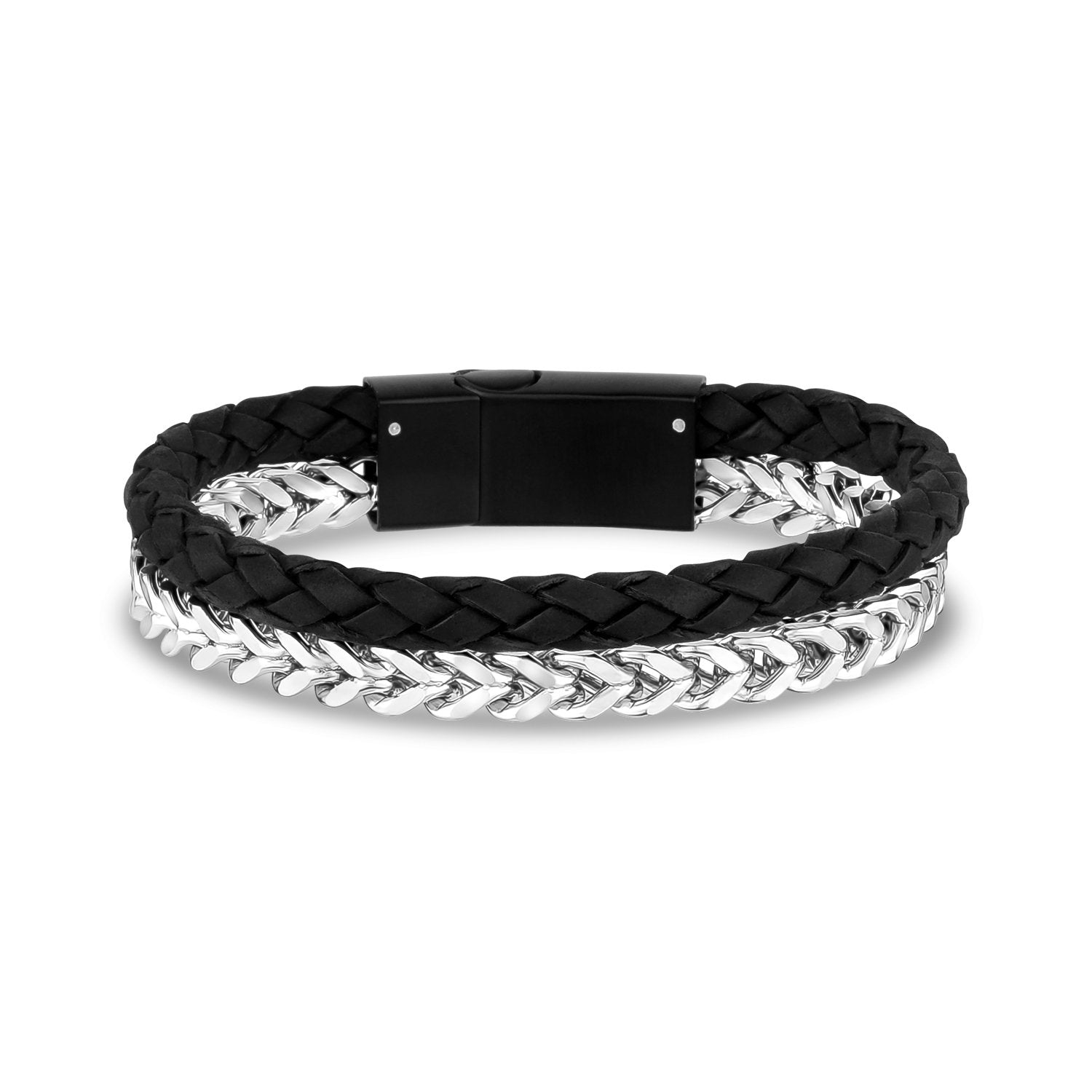 Mens Steel Leather Bracelets - Franco Link + Black Leather Steel Clasp Bracelet - Engravable