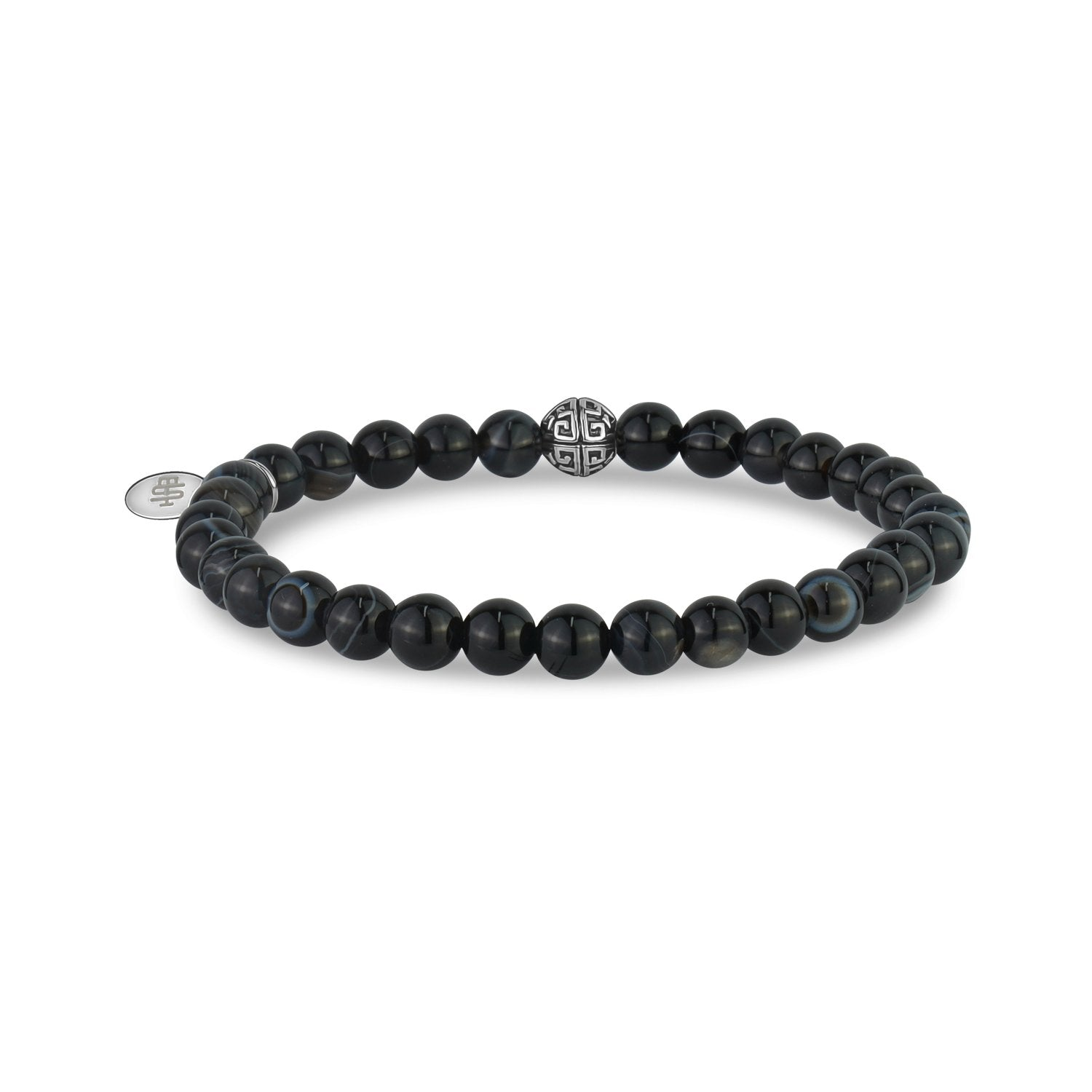 Unisex Bead Bracelet - 6mm Black Line Agate Stretch Bead Bracelet