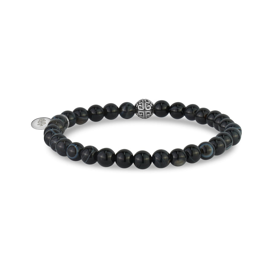 6mm Black Line Agate Stretch Bead Bracelet