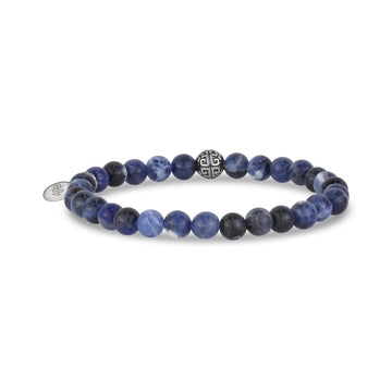 Unisex Bead Bracelet - 6mm Blue Sodalite Stretch Bead Bracelet
