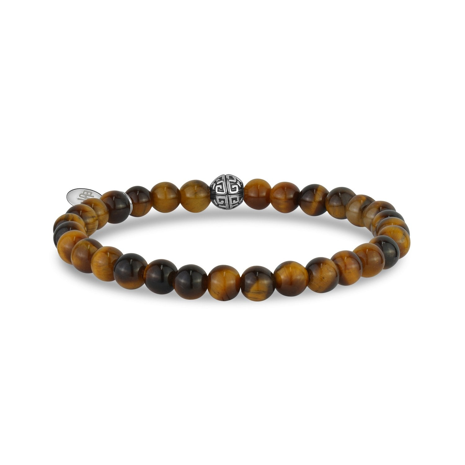 Unisex Bead Bracelet - 6mm Brown Tiger Eye Stretch Bead Bracelet