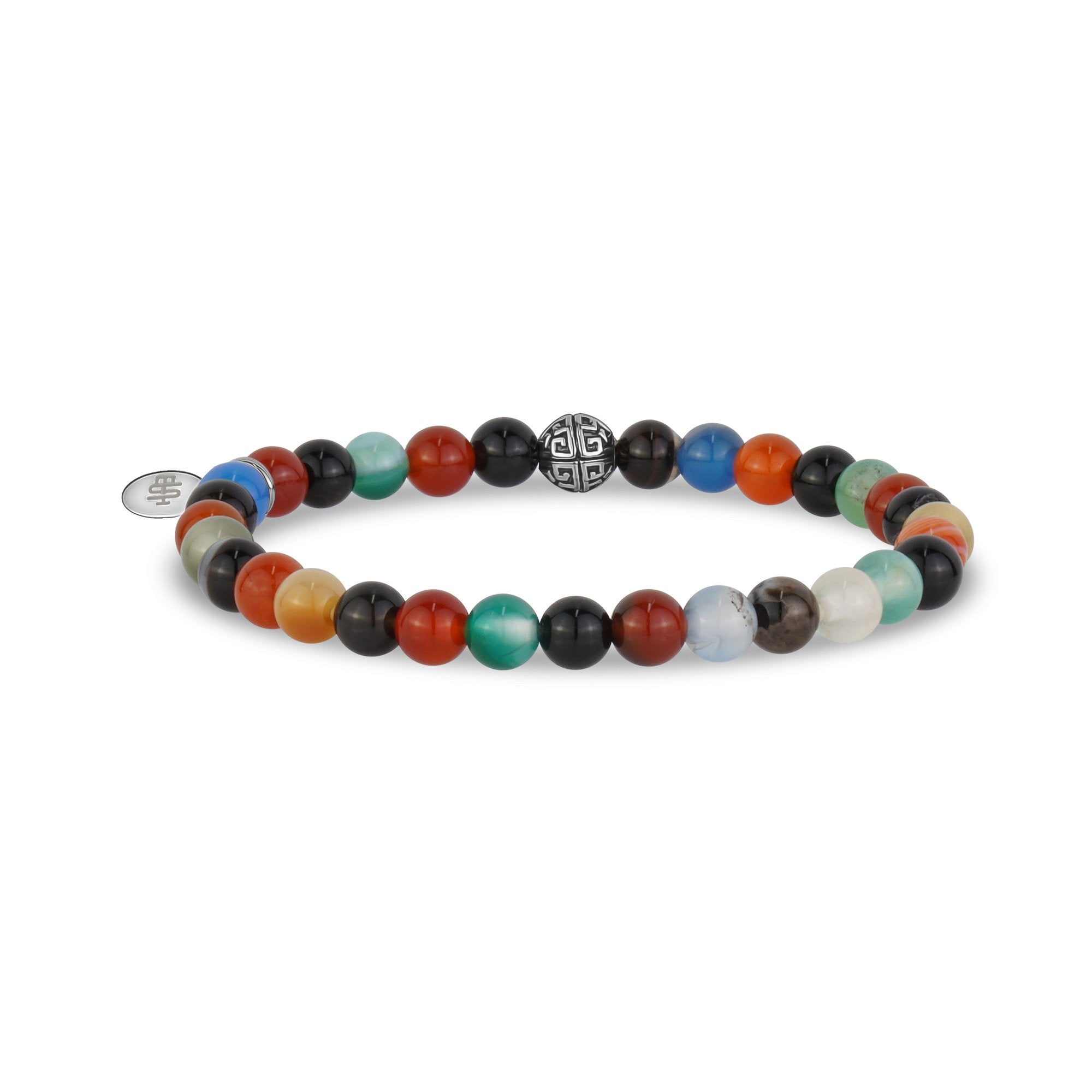 Unisex Bead Bracelet - 6mm Multicolor Agate Stretch Bead Bracelet