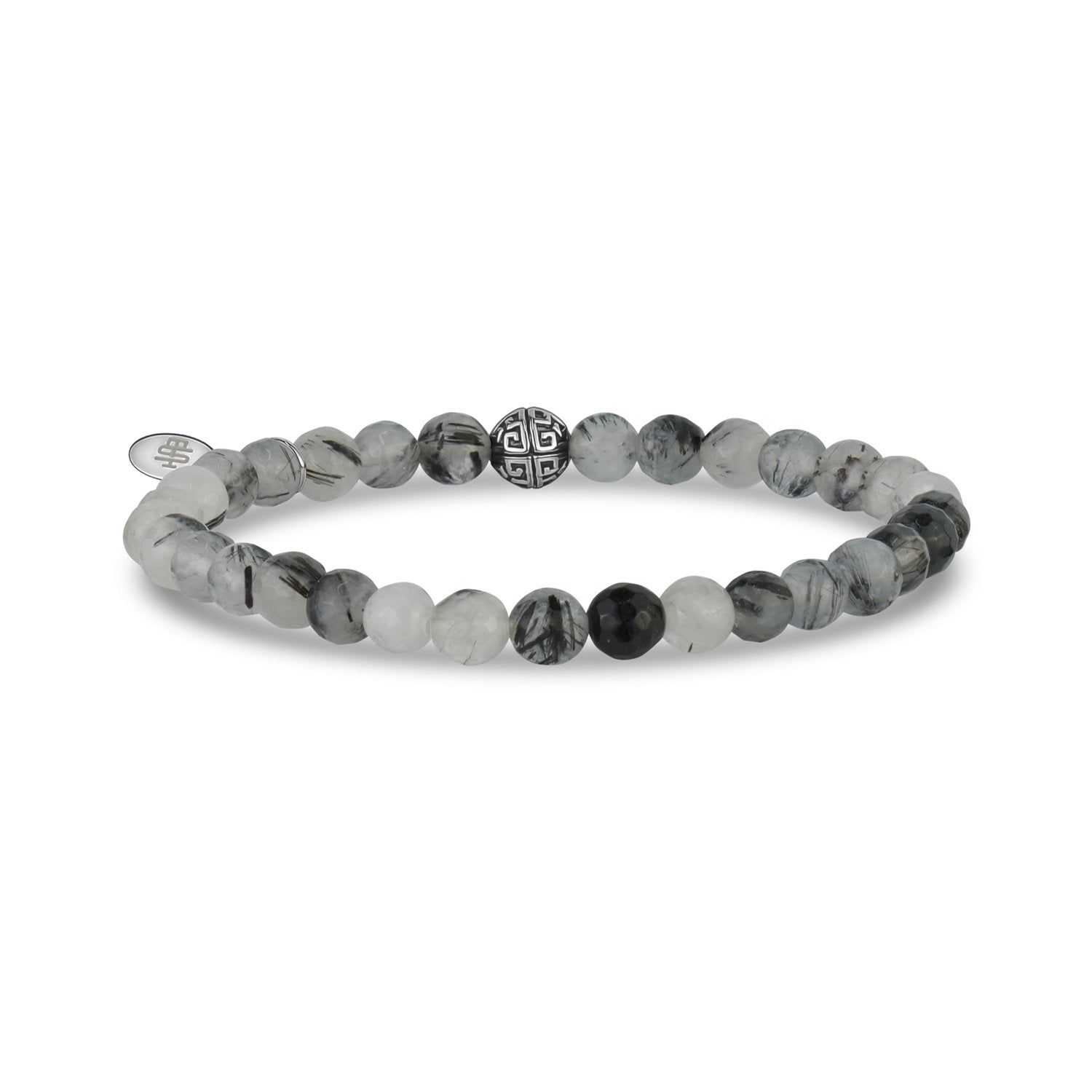 Unisex Bead Bracelet - 6mm Rutilated Quartz Stretch Bead Bracelet