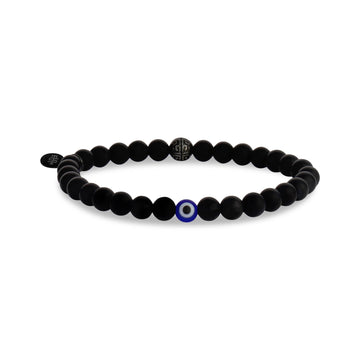 Evil Eye 6mm Matte Black Onyx Bead Bracelet