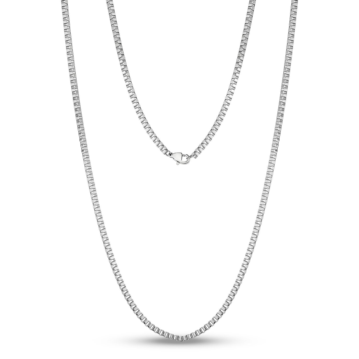 Unisex Necklaces - 2.5mm Thin Stainless Steel Box Link Necklace