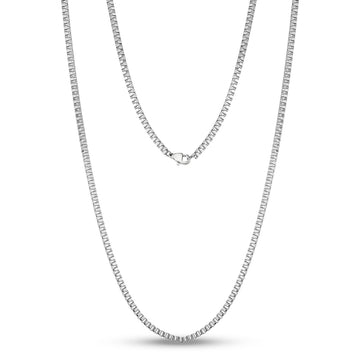 2.5mm Thin Stainless Steel Box link Necklace