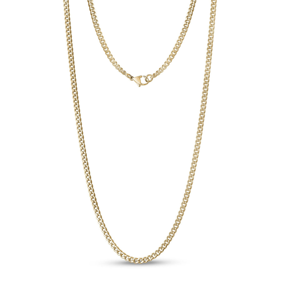 Unisex Necklaces - 3.5mm Gold Stainless Steel Cuban Link Chain Necklace