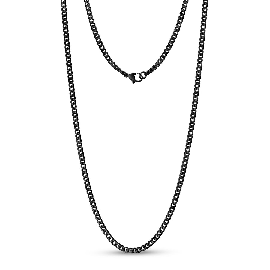 Unisex Necklaces - 3.5mm Black Stainless Steel Cuban Link Chain Necklace