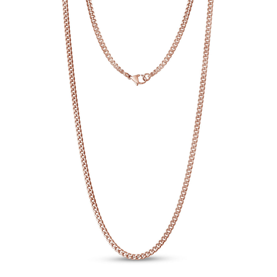 Unisex Necklaces - 3.5mm Rose Gold Stainless Steel Cuban Link Chain Necklace