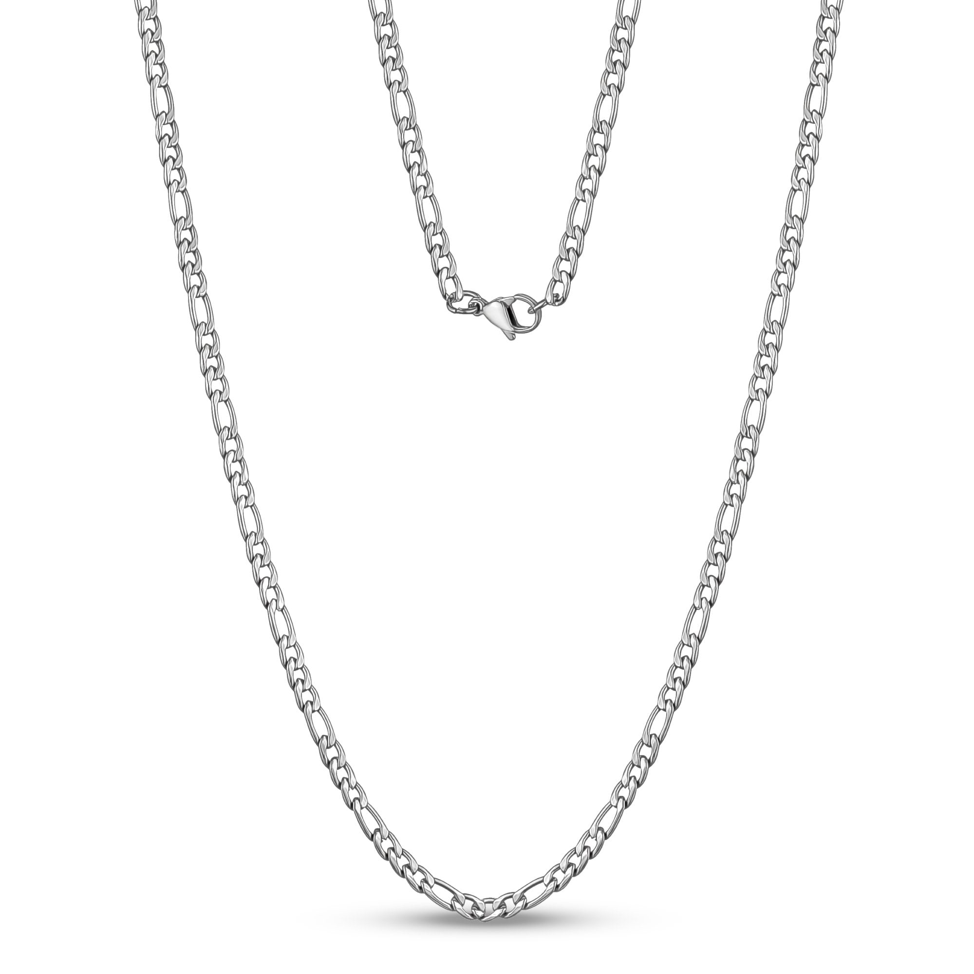 Unisex Necklaces - 3.5mm Stainless Steel Figaro Link Chain Necklace