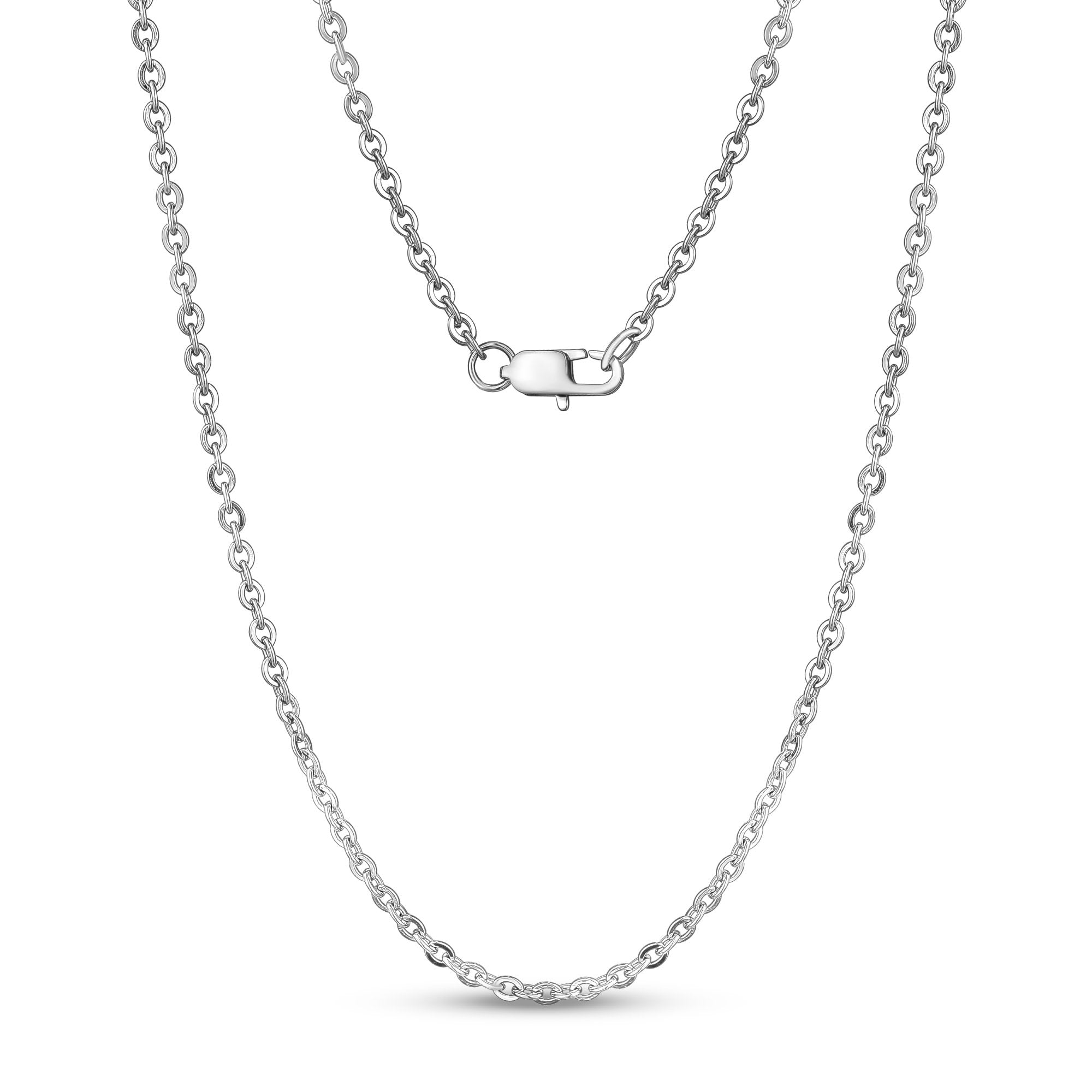 Unisex Necklaces - 3mm Flat Anchor Oval Link Steel Chain Necklace