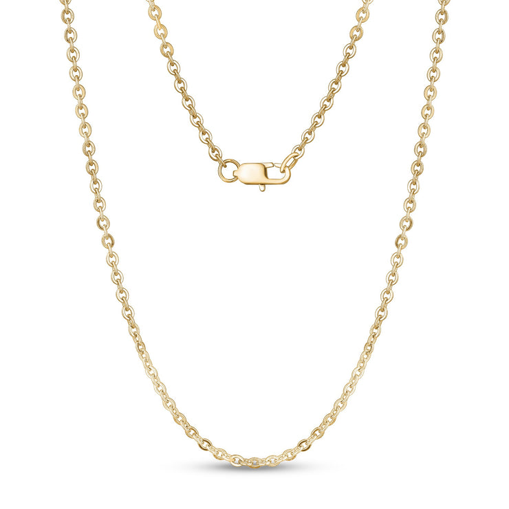 Unisex Necklaces - 3mm Flat Anchor Oval Link Gold Steel Chain Necklace