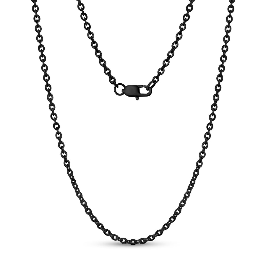 Unisex Necklaces - 3mm Flat Anchor Oval Link Black Steel Chain Necklace
