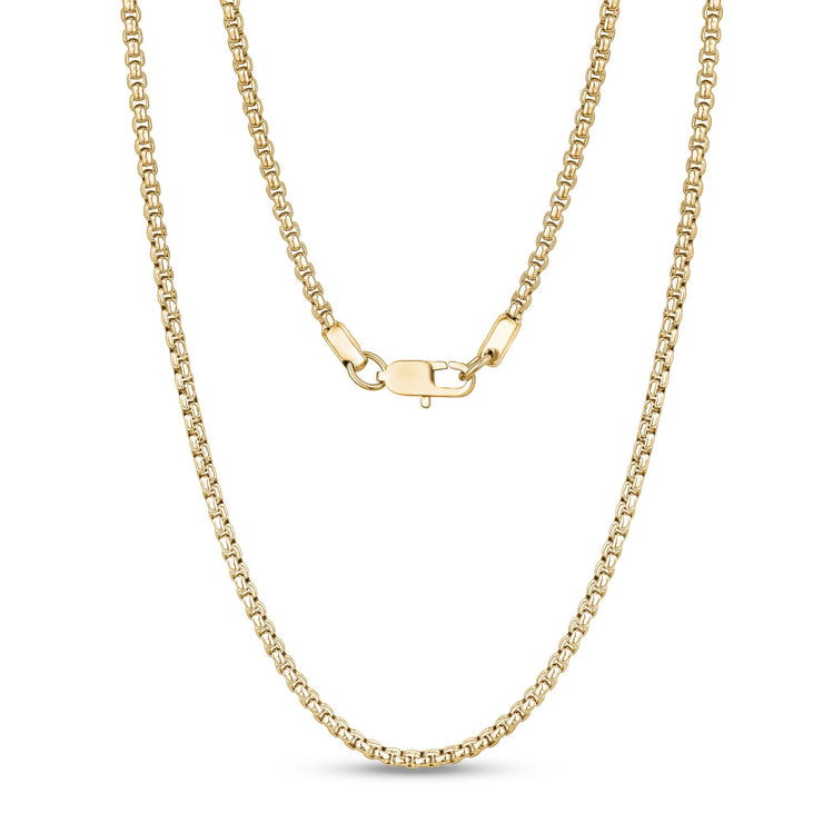 Unisex Necklaces - 3mm Round Box Link Gold Steel Chain Necklace