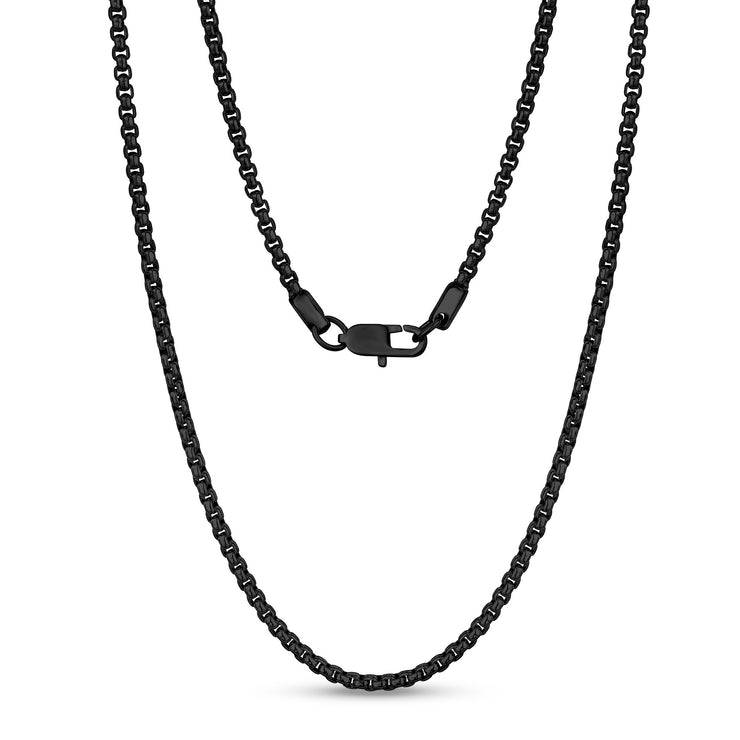 Unisex Necklaces - 3mm Round Box Link Black Steel Chain Necklace