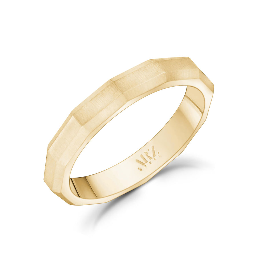 Unisex Ring - 3mm Faceted Matte Gold Steel Unisex Engravable Band Ring