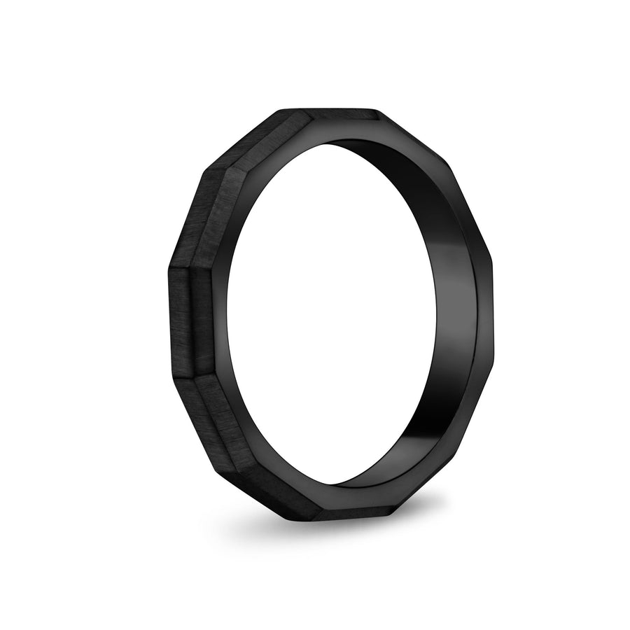 Unisex Ring - 3mm Faceted Matte Black Steel Unisex Engravable Band Ring