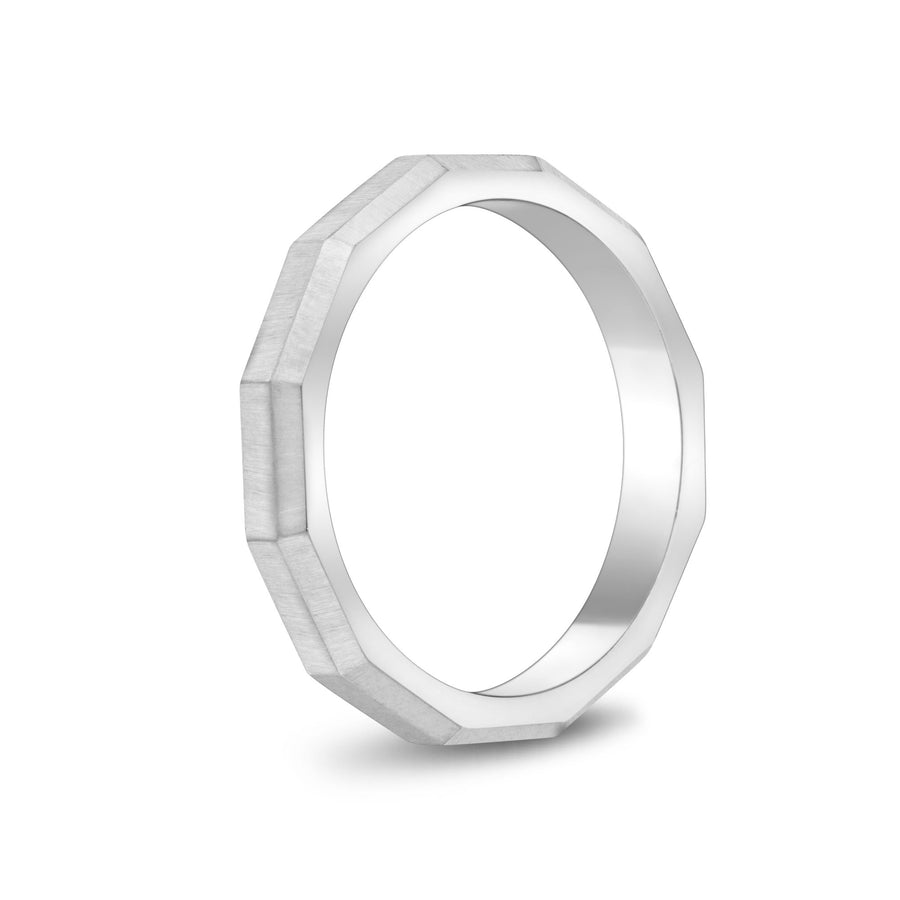 Unisex Ring - 3mm Faceted Matte Steel Unisex Engravable Band Ring