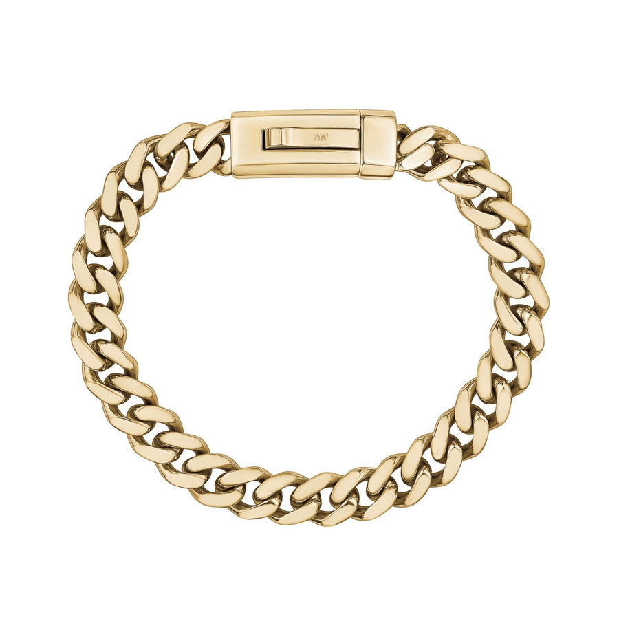 Unisex Steel Bracelet - 9mm Gold Stainless Steel Cuban Link Engravable Bracelet