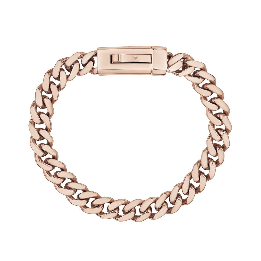 Unisex Steel Bracelet - 9mm Rose Gold Stainless Steel Cuban Link Engravable Bracelet
