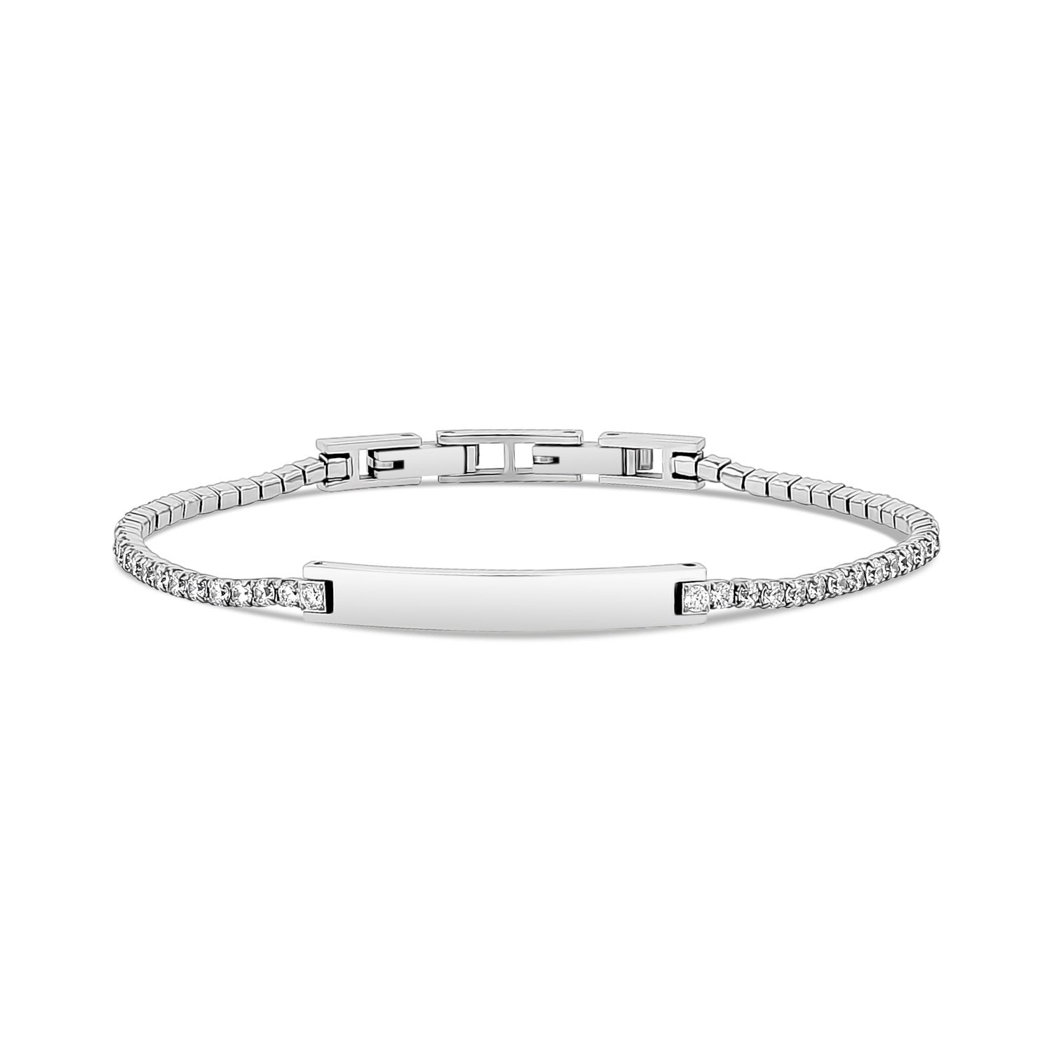 Women Bracelet - 2mm Cubic Zircon Steel Tennis ID Bracelet - Engravable