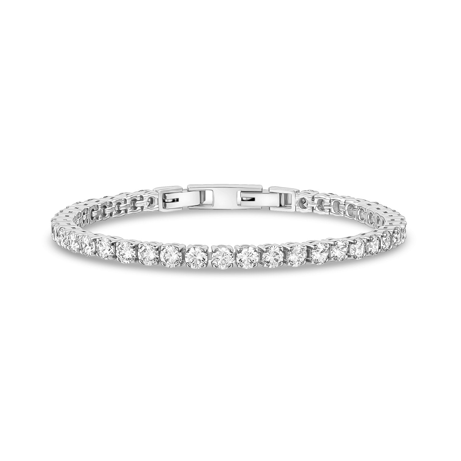 Women Bracelet - 4mm Cubic Zircon Stainless Steel Tennis Bracelet