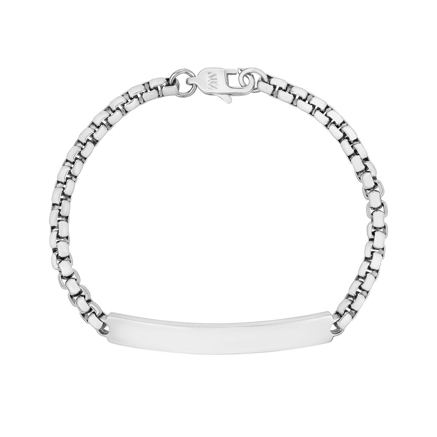 Women Bracelet - 4mm Round Box Engravable Steel ID Bracelet