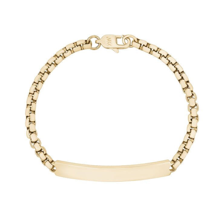 Women Bracelet - 4mm Round Box Engravable Gold Steel ID Bracelet