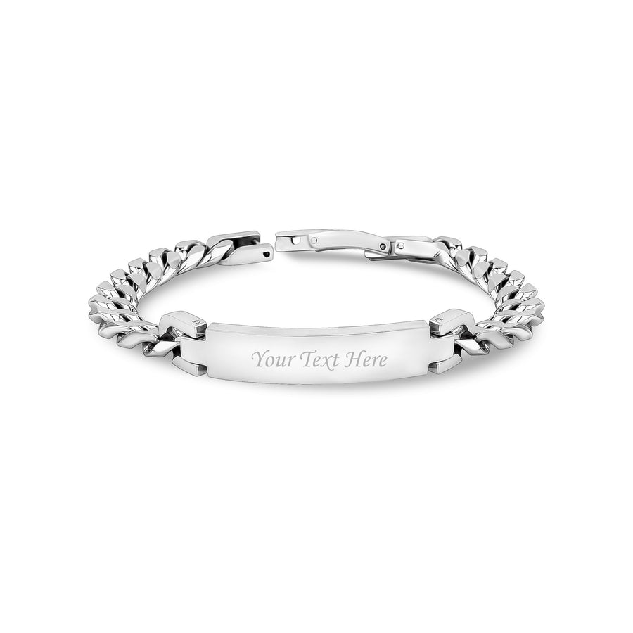 Women Bracelet - 8mm Stainless Steel Cuban Link Engravable ID Bracelet