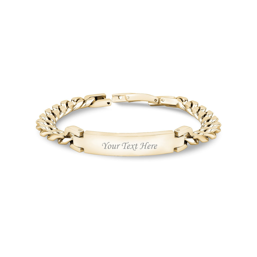 Women Bracelet - 8mm Gold Stainless Steel Cuban Link Engravable ID Bracelet
