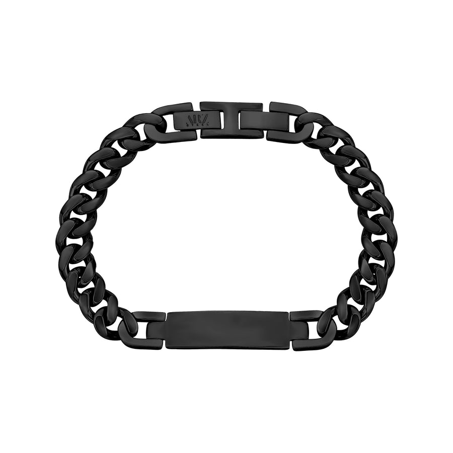 Women Bracelet - 8mm Black Stainless Steel Cuban Link Engravable ID Bracelet
