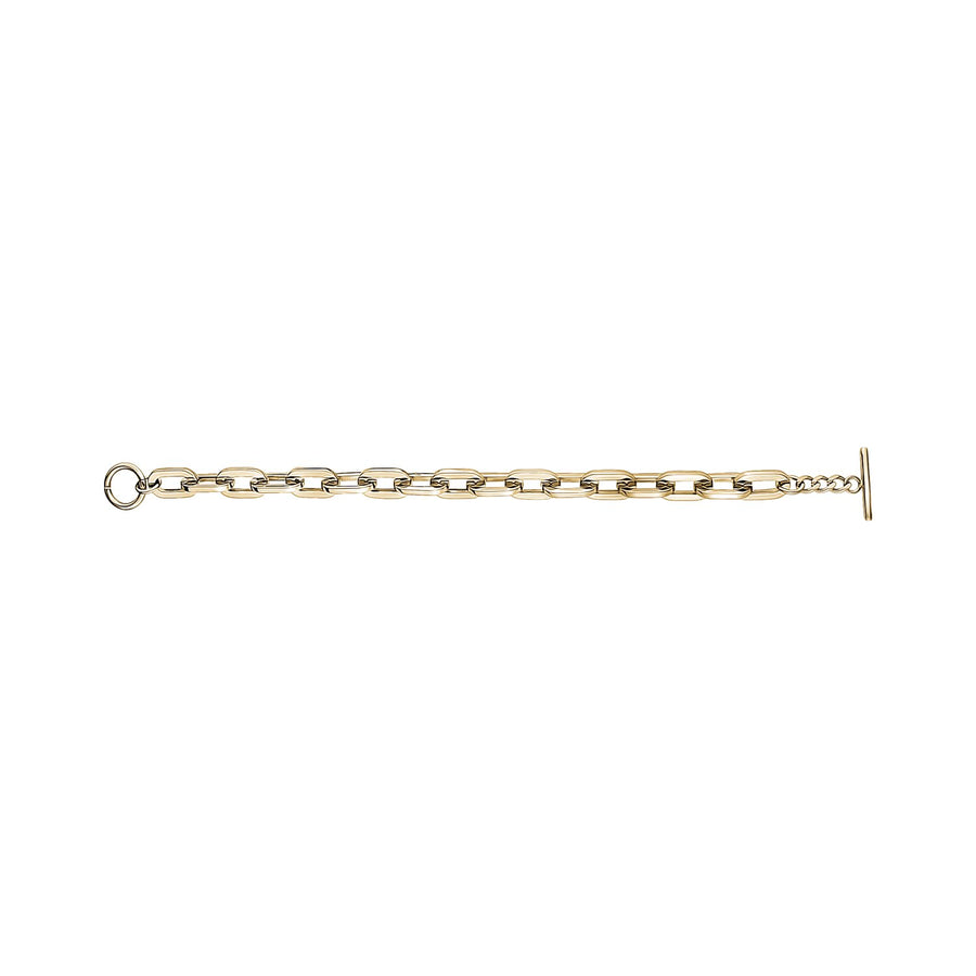 Women Bracelet - 8mm Gold Stainless Steel Elongated Link Bracelet