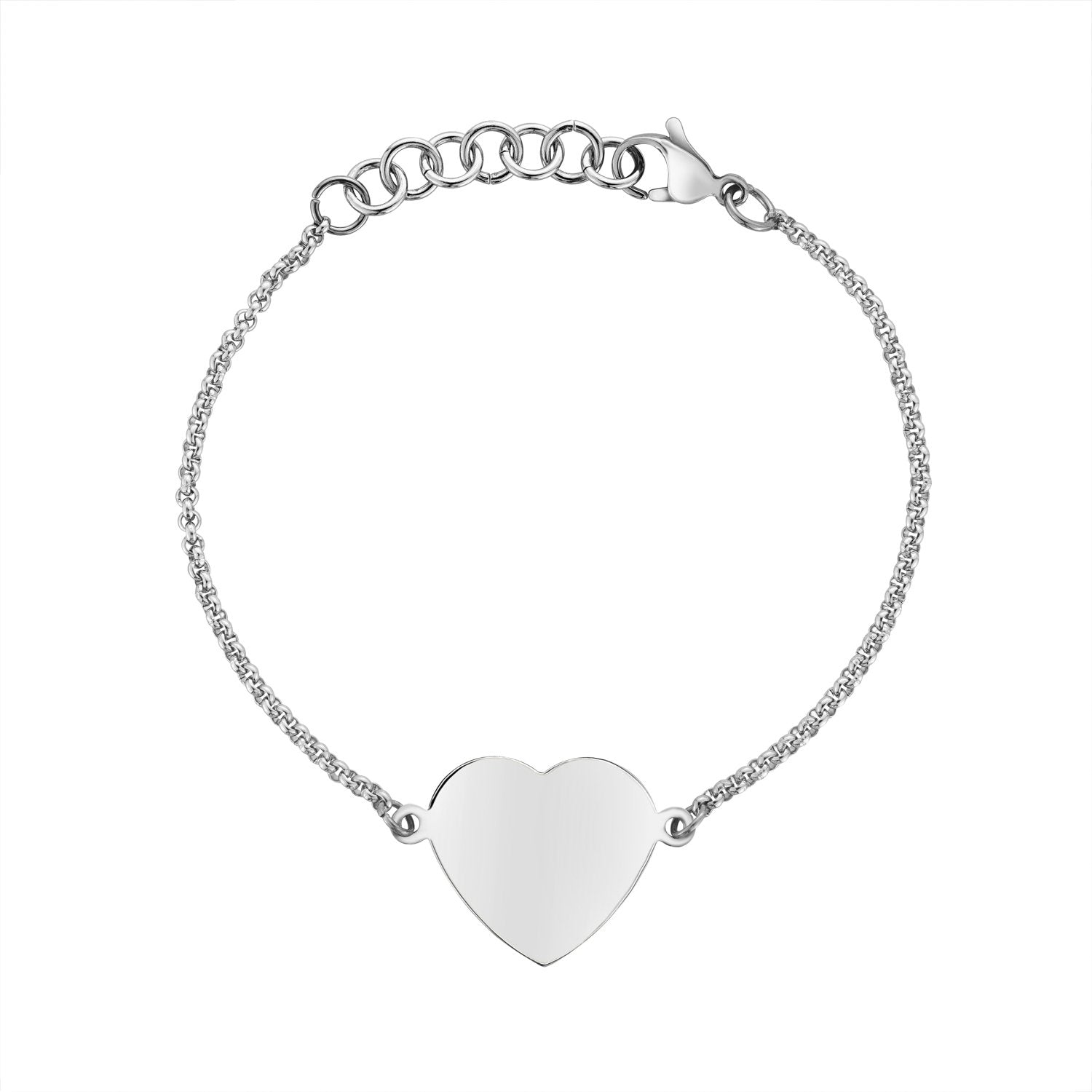 Women Bracelet - Personalized Stainless Steel Heart Bracelet - Engravable