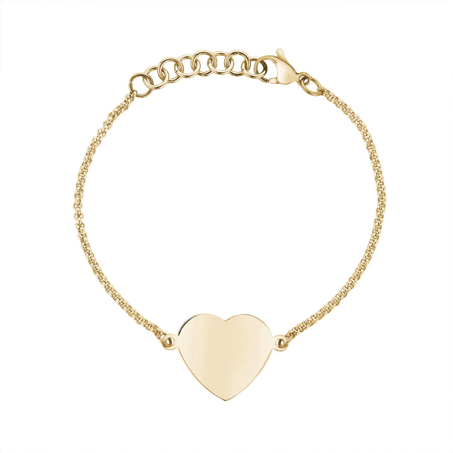 Women Bracelet - Personalized Gold Stainless Steel Heart Bracelet - Engravable